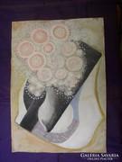 Kubista virágcsendélet temperakép közvetlenül a festőtől