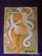 Táncoló ördög-angyal, tempera, papír, ötletvázlat, Lehoczky
