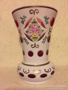Régi, kétrétegű, cseh bieder üvegváza vitrin állapotban (95)