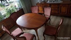 Chippendél barokk kinyitható étkezőasztal 6 székkel