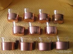 Hőálló,retro teás, bólés poharak fa fülű réztartóban