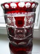 Art deco stílusú metszett, hántolt üvegváza, 15 cm