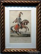 Ugrató lovas - színezett rézkarc