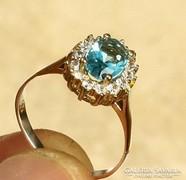 Szikrázóan csillogó, topáz köves, török ezüst gyűrű 7,75