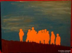 Emberek csoportban - Szép kis modern alkotás 2006-ból
