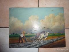 Táj szántóvető lovakkal, régi olaj-karton, j.n.