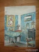 Díszletterv, szobabelső akvarell, kétoldalas, j.n.