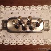 Argentor ezüstözött tálcán fém kupák - 6 db