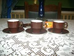 Régi Hollóházi három személyes kávéskészlet