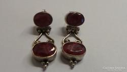 Ezüst Antik fülbevaló rubinttal 11,30 gramm