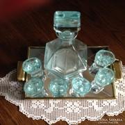 Pálinkás, likőrös készlet -  öntött üvegből (6+1+1 db)