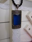 925 ezüst medál kék kővel és markazittal