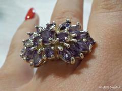 Mesés nagyméretű ametiszt köves ezüst gyűrű