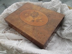 Antik rózsa intarziás fa doboz