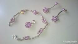 Ezüst ékszerszett pink cirkonkövekkel 925.