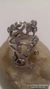 Ezüst gyűrű, rengeteg cirkonnal, hullámokkal!!!!!!!!!!!!!!!