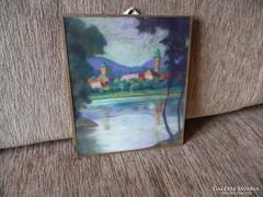 Falu a tóparton festmény