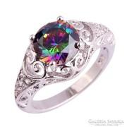 Káprázatos, szivárvány topáz köves, 925 jelzésű gyűrű 9