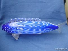 Hatalmas kék muránói üveghal 40cm hosszú