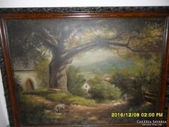 Horváth J. olajfestmény házakkal, állatokkal nagy fával