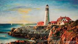 Torony és part  Festmény