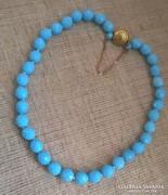 Régi kék fazettázoz nyaklánc ékszer kapcsolóval