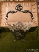 Dianás ezüst kosárka üvegbetéttel
