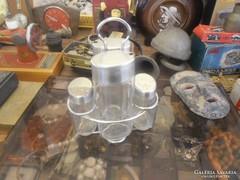 Retró fűszertartó készlet üveg fém