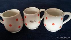 Pöttyös porcelán baba csésze, bögre 3db