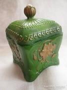 Antik öntött üveg cukortartó,bonbonier