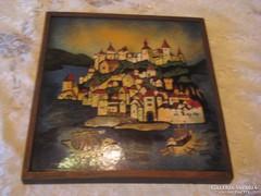 Zománc  falikép  szignós  30x30 cm