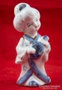 Kék porcelán kínai hölgy alak, lány figura