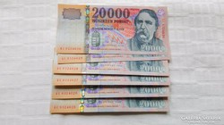 2008-as 20000.-Ft ,bankjegy, számkövető Bankfriss.UNC   6.db