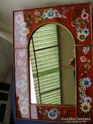Antik  tükör,festett zománc keret,szecessziós virágminta