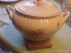 Vadrózsás régi gránit  leveses tál 2 literes