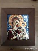 Régi Béni Mária tűzzománc kép fa keretben