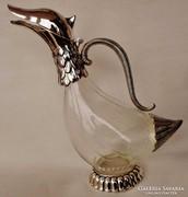 Csodás figurális antik nagy ezüstözött boroskancsó,karaffa