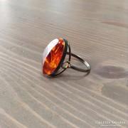Régi orosz ezüst gyűrű borostyán kővel