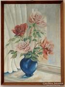 Rózsák kék vázában