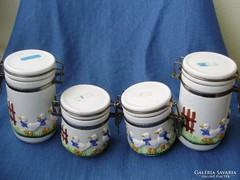 Liba mintás csatos porcelán fűszertartó készlet