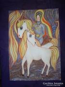 A Szent lovag , akvarell, 40 x 29 cm. Lehoczky József