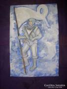 Éberség , akvarell, 40 x 29 cm, Lehoczky József
