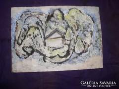 Kert télen, tempera, karton, 19 x 21 cm, - Lehoczky József