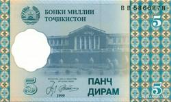 Tádzsikisztán 5 Tádzsik Diram 1999 UNC