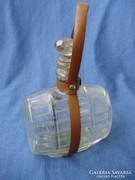 Antik különeges,hordó alakú pálinkás, konyakos üveg