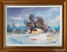 --Téli emlék tanyácskával -Eredeti kortárs festmény-