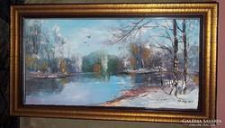 --Télbúcsúztató a folyónál -Eredeti kortárs festmény-