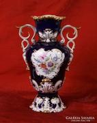 Hollóházi barokk kék váza (35 cm) - GYÖNYÖRŰ ÉS HIBÁTLAN