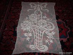 Régi, virág kosaras horgolt vitrázs kis függöny