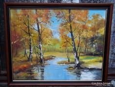 --NyÍrfák  a pataknál -Eredeti kortárs festmény-